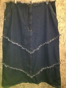 STARWEAR denim blue jean frayed fringe straight skirt below knee 18 hippie boho