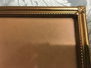 "Vintage gold brass metal easel photo picture frame 8x10"" scroll corner embossed"