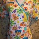 Colorful geometric floral cheery mock wrap scrubs top nurse medical dental vet S
