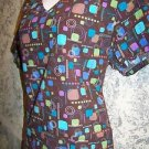 Brown tuquose artsy geometric vneck SB Scrubs uniform top dental medical nurse S