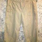 BASS khaki cotton capri peddle pusher pants 6 mid rise straight adj waist casual