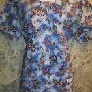 Modest CREST cross bust mock wrap scrubs top nurse medical dental uniform vet M