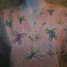 Pink polka dots butterfly dragonfly vneck scrubs top dental medical nurse vet XS