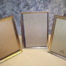 3 gold metal embossed photo picture frames 5x7 easel table top wall mid century
