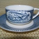 2 tea cups saucer plates Currier Ives ROYAL blue white steamboat carriage horses