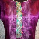 OOAK kurti kutra dress shiny purple irridescent sheer handmade craft embellished