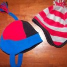 2 Baby infant - toddler boys winter fleece trapper style tassles ear flaps hats