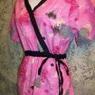 24/7 pink black side gather tie mock wrap scrubs top dental medical nurse vet L