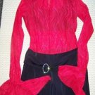 Bell bottom sleeve red lace jumpsuit dance Halloween costume girl M unitard blk