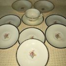 Lot 10 PADEN CITY ivory 22K gold trim floral bouquet antique bowls saucers cup