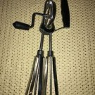 Vintage stainless steel side handle grip rotary manual egg beater mixer works
