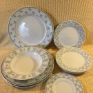 Katrin by ONEIDA Stoneware 9 piece plates bowl green blue leaves checkered lot 9