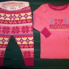 CHRISTmas baby infant 0-3 mo 2 pc pajama pink winter I LOVE MOMMY snowflakes NWT