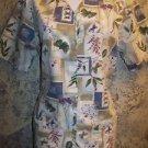Khaki botanic floral  short sleeve CHEROKEE scrub top jacket dental uniform XS