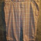 Woman plus 26W modest length long bermuda shorts peddle pusher capri plaid ruch