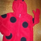 Infant baby 0-6 mo 1 piece hooded zip up costume HALLOWEEN ladybug red black