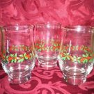 Lot of 3 CHRISTmas party holly leaf berry red green gold trim fluted glasses GUC