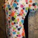 GEM colorful polka dots knit sides pullover scrub top nurse medical uniform XS S