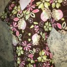 Mock wrap scrubs top nurse medical dental S back gather tie brown floral flowers