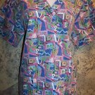 Colorful abstract geometric pullover v-neck scrubs top dental medical nurse M