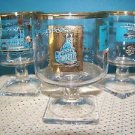 "SOUTHERN COMFORT whiskey riverboat ferry gold turquoise mid century 4"" glasses"