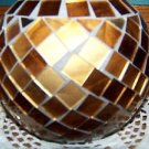 "Metallic gold bronze mosaic sphere vase 5"" high round table home decor CHRISTmas"
