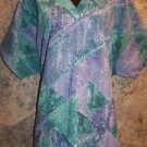 HICE women large short sleeve pullover artsy print teal v-neck scrubs GUC top