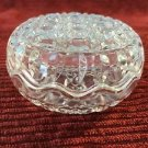 Round scalloped clamshell edge cut pressed glass trinket box round fitted lid