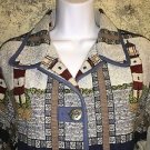 Lighthouse print tapestry scenic jacket M ocean nautical anchor buttons BLAIR
