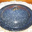 "Vintage enamelware speckle dark blue pan kettle pot lid top replacement 8-9"""