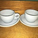 "2 vintage restaurantware BUFFALO CHINA Lune ""blue plate"" cups saucers sets heavy"
