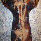 "Brown silky satin kurti kutra tunic dress 40"" bust blue starburst embroidery GC"