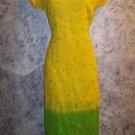"""Yellow green embroider sequins handmade kurti kutra dress silk ? artsy 38"""" bust"""