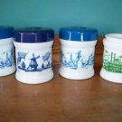 4 white milk glass cigar tabacco humidor canister jar windmills Boston riverboat