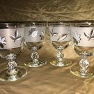 "4 LIBBEY fall leaves silver frosted water wine glasses goblets 5.25"" Mid Century"