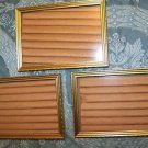 """3 matching gold metal photo picture frames 5x7"""" easel table top wall mid century"""