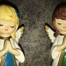 Vintage HOMCO Korea hand-painted ceramic praying angels figurine CHRIST-mas deco