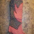 "CHRISTmas stocking quilte western cowboy boot gray red BUCKAROO large 8x24"" deco"