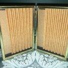 Bi-fold vntg emboss gold brass metal double hinge 3.5x5 frame photo beaded edge