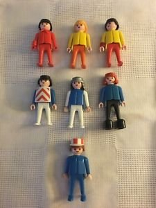 1974 GEOBRA Playmobile action figure men lot 7 red blue yellow hats hair people