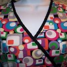 Bright geometric abstract mock wrap back tie v-neck scrubs top nurse dental M