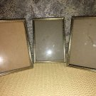 3 matching gold metal embossed photo picture frame easel back 5x7 Mid Century