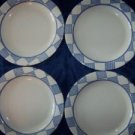 "4 PFALTZGRAFF sandwich dessert salad bread plates 8"" blue white checkered USA"