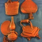 Vintage HODA kitchen wall decor 4 pc set red orange bucket iron lamp aluminum