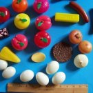 Lot pretend play food realistic size eggs hot dogs onions fruit plastic toys GUC