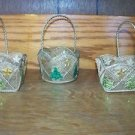 """3 little 3x4"""" CHRISTmas decoration baskets gold mesh metal with stars tree deco"""