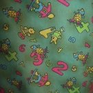 Animals numbers counting green v-neck SB Scrubs uniform top medical nurse vet M