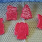 Set lot red plastic cookie playdoh cutters CHRISTmas themed angel tree bell GUC