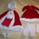 Red velvet white fur winter dress cape muff hat sock shoes bloomers outfit doll