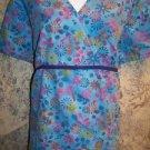 Blue flowers women XL SB Scrubs nurse vet dental uniform top v-neck tie back